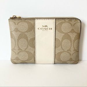 Coach Signature Stripe Tan Beige White Wristlet